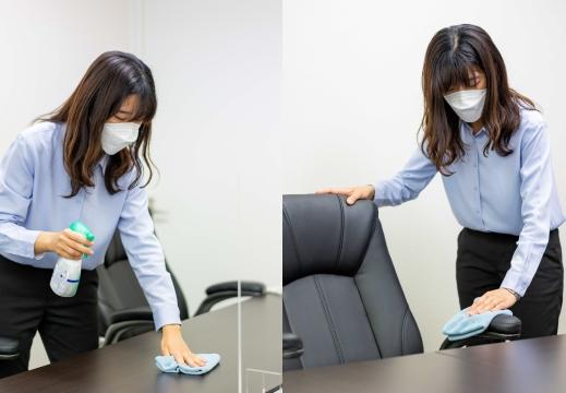 使用テーブル・座席のアルコール除菌(拭き取り)